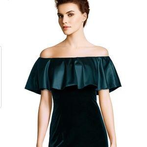 Adrianna Papell Off Shoulder Velvet Sheath Dress
